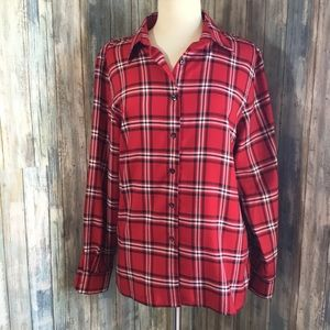 FoxCroft wrinkle free red plaid button up size 14